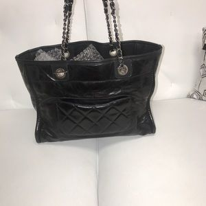 383918f6b231 CHANEL Bags | Glazed Calfskin Small Deauville Tote Black | Poshmark
